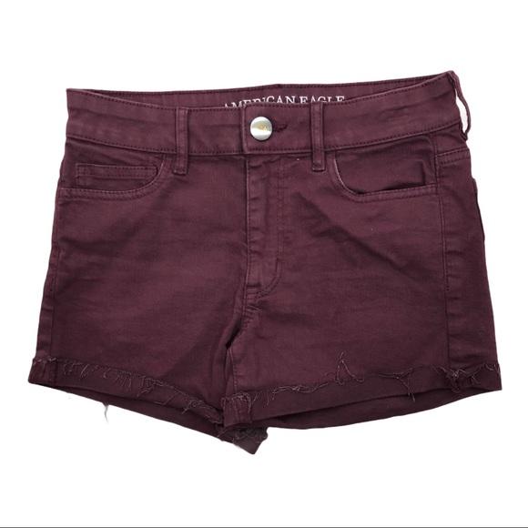 American Eagle Burgundy Hi-Rise Shortie Shorts